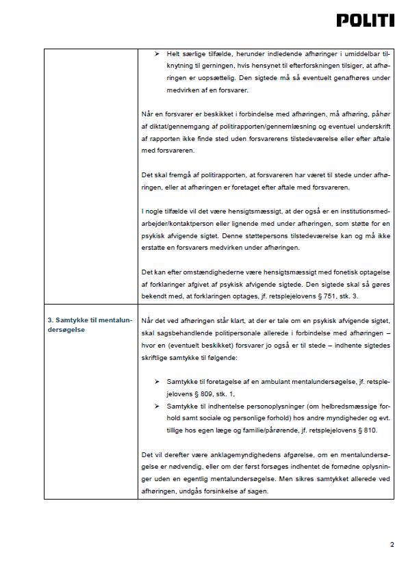 Side 2 - Bilag 4 - Vejledning om registrering i POLSAS af mentalerklæringer