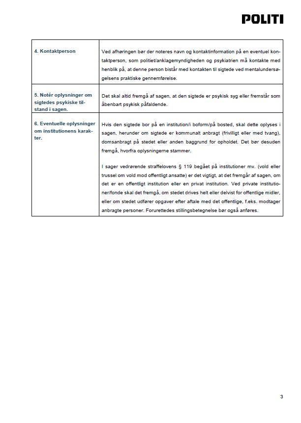 Side 3 - Bilag 4 - Vejledning om registrering i POLSAS af mentalerklæringer