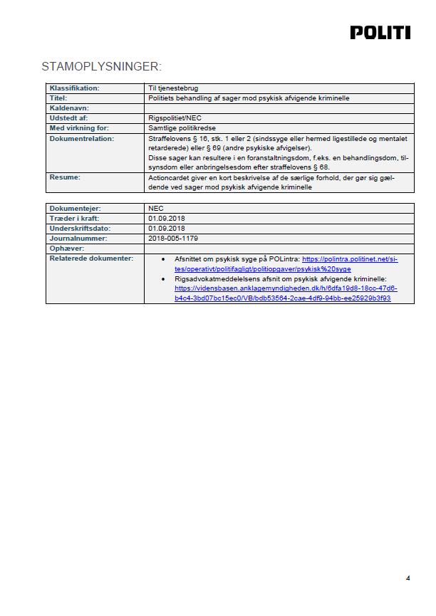 Side 4 - Bilag 4 - Vejledning om registrering i POLSAS af mentalerklæringer